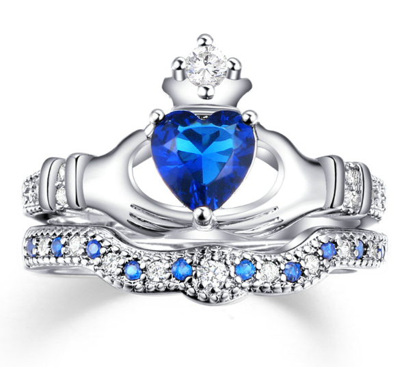 Eternal Blue Claddagh Ring Set - Ashley Jewels - 1