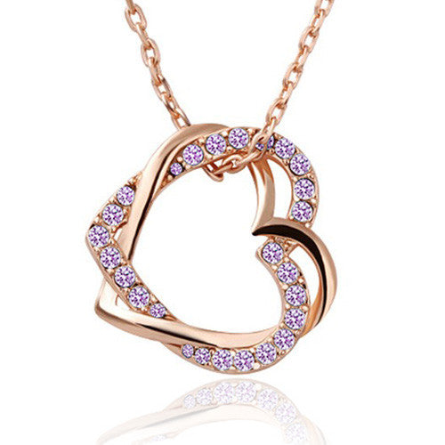 Double Heart Charm Pendant Necklace - Ashley Jewels - 1
