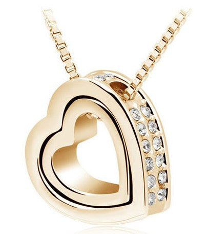 Double Heart Pendant - Gold - Ashley Jewels