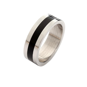 Stainless Steel Black Band Ring - Ashley Jewels - 2