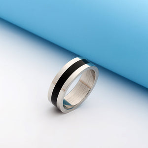 Stainless Steel Black Band Ring - Ashley Jewels - 1