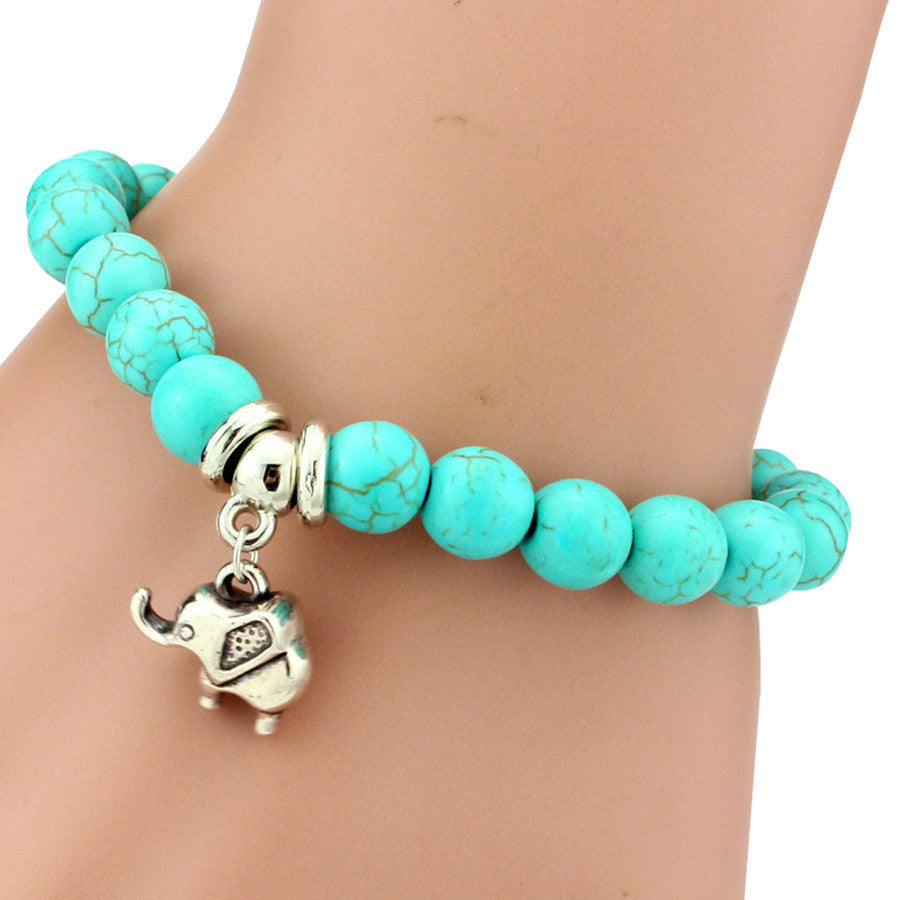 Elephant Charm Turquoise Stone Bracelet - Ashley Jewels