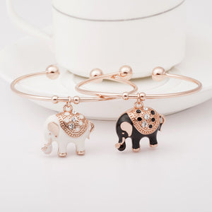 Elegant Rose Gold Elephant Charm Bangle - Ashley Jewels - 1
