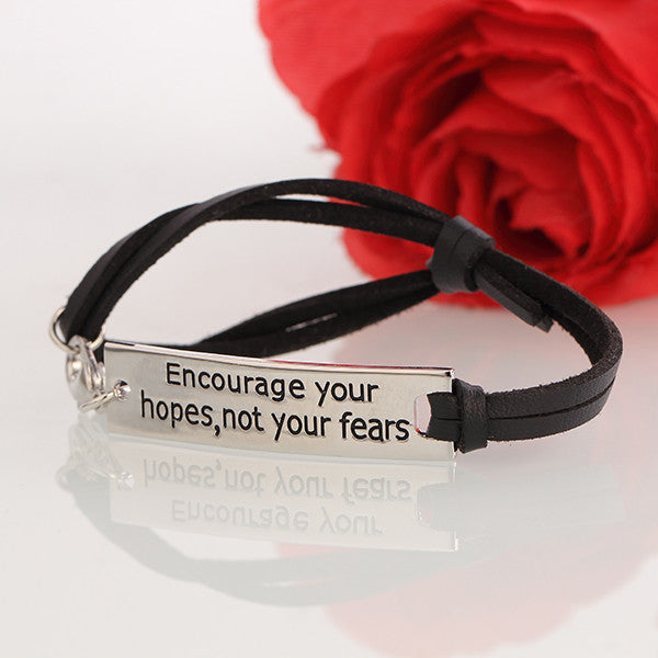 Encourage Your Hopes Leather Strap Bracelet - Ashley Jewels - 3