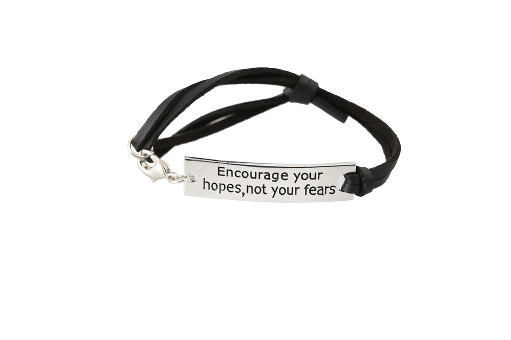 Encourage Your Hopes Leather Strap Bracelet - Ashley Jewels - 1