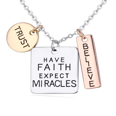 Trust Faith Believe Charm Pendant - Ashley Jewels