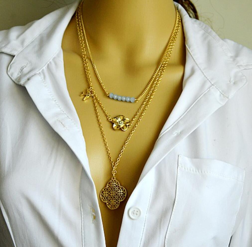 Flower Dove Layers Necklace - Ashley Jewels - 1