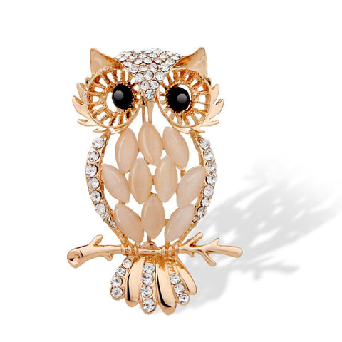 Gold Owl Brooch - Ashley Jewels