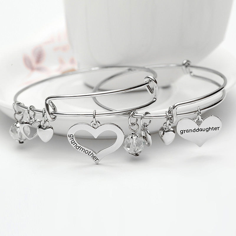Grandmother Granddaughter Charms Bangle Set - Ashley Jewels - 1