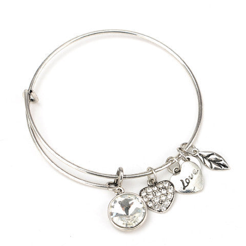 April Birthstone Charm Bangle - Ashley Jewels - 2