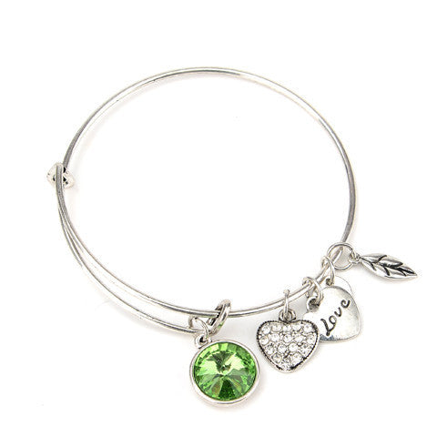 August Birthstone Charm Bangle - Ashley Jewels - 2