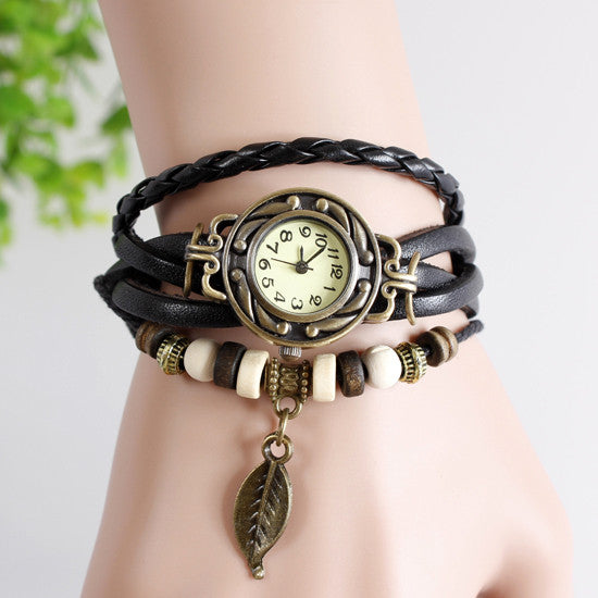 Leaf Vintage Wrap Watch with Free Gift Box - Ashley Jewels - 6