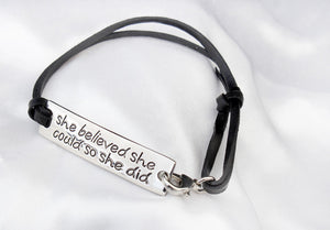 She Believed She Could So She Did Leather Bracelet - Ashley Jewels - 3