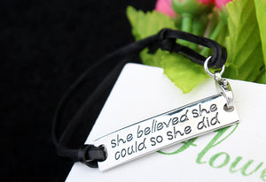 She Believed She Could So She Did Leather Bracelet - Ashley Jewels - 4