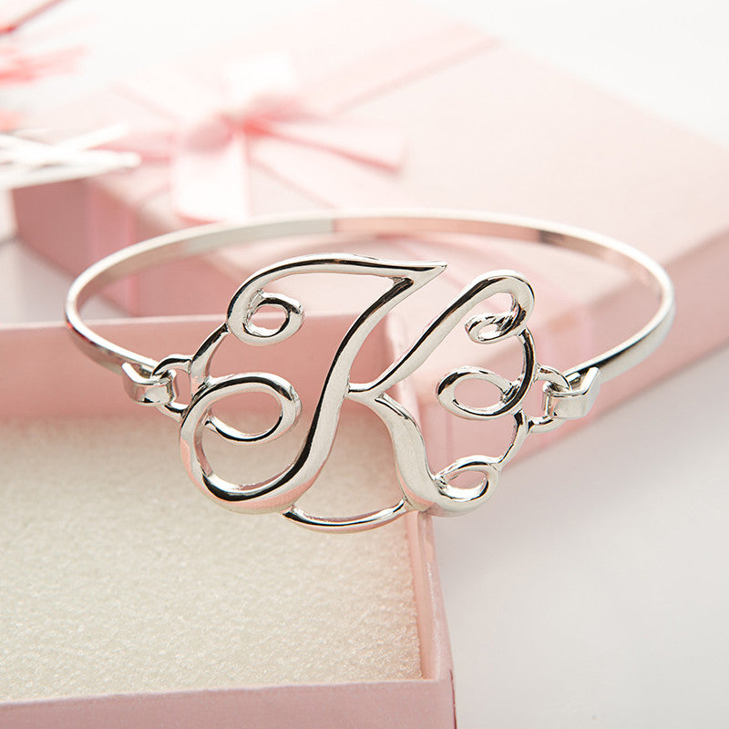 Monogram Initial Script Bracelet with Free Gift Box - Ashley Jewels - 8