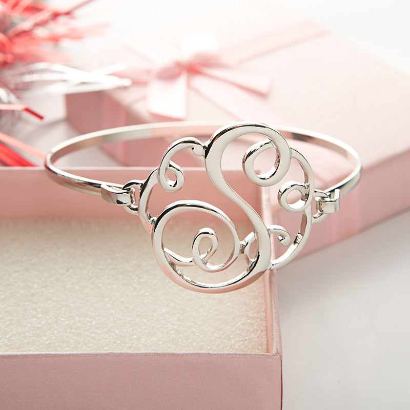 Monogram Initial Script Bracelet with Free Gift Box - Ashley Jewels - 7