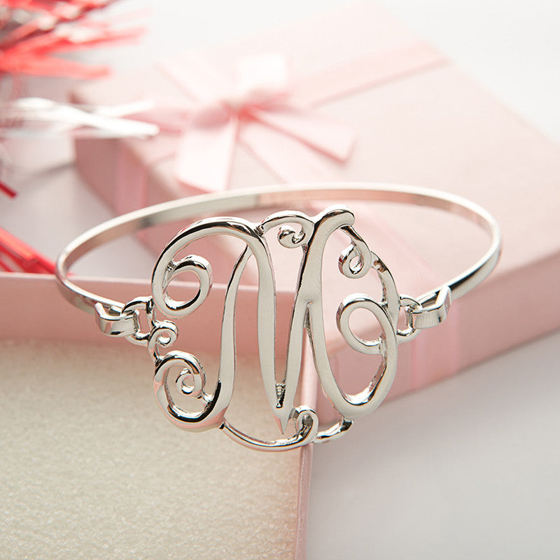 Monogram Initial Script Bracelet with Free Gift Box - Ashley Jewels - 1