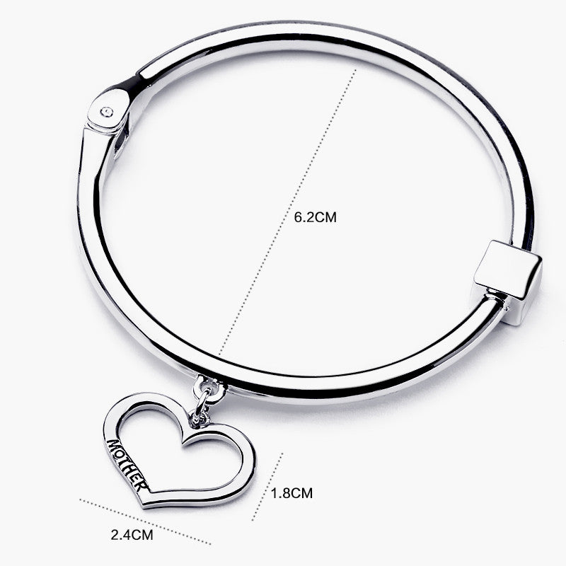 Mother Daughter Silver Heart Charm Bangle Set - Ashley Jewels - 2