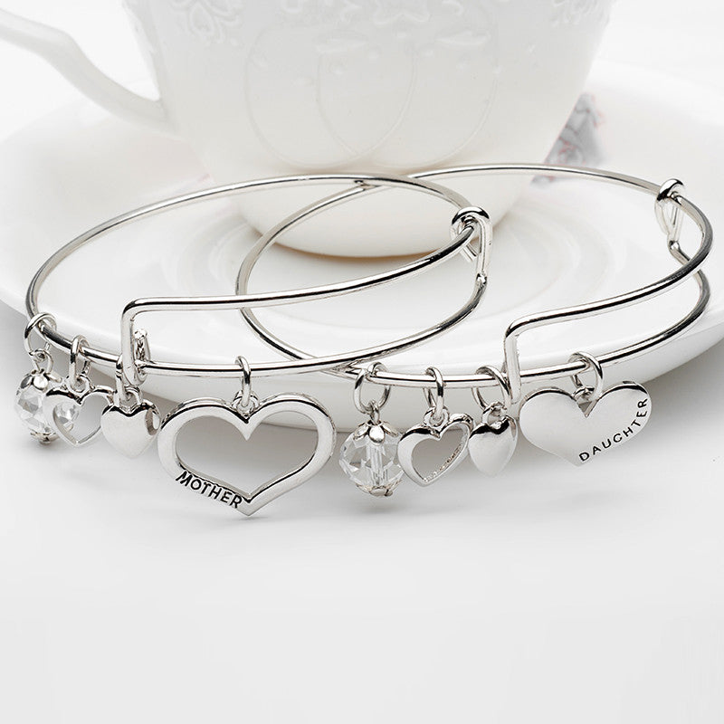 Mother Daughter Charm Bangle Set with Free Gift Box - Ashley Jewels - 1