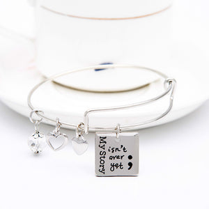 My Story isn't Over Yet Square Charms Bangle