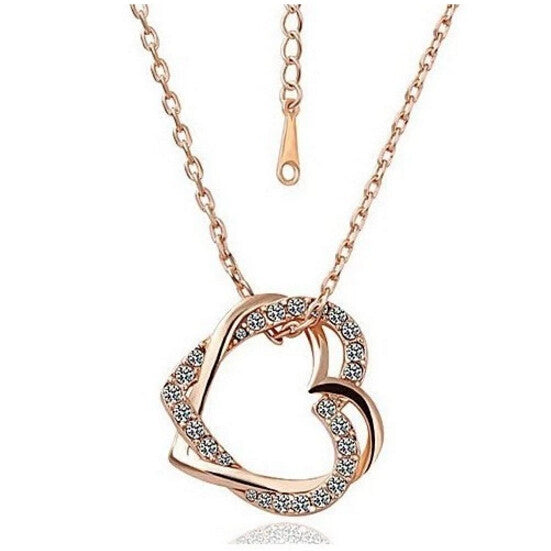 Crystal Double Heart Necklace