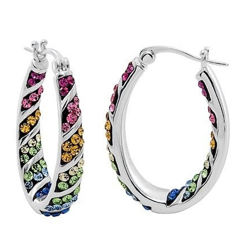 Rainbow Hoop Crystal Earrings - Ashley Jewels