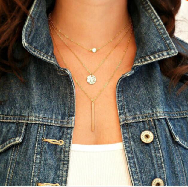 Round Bar layers Necklace - Ashley Jewels - 1