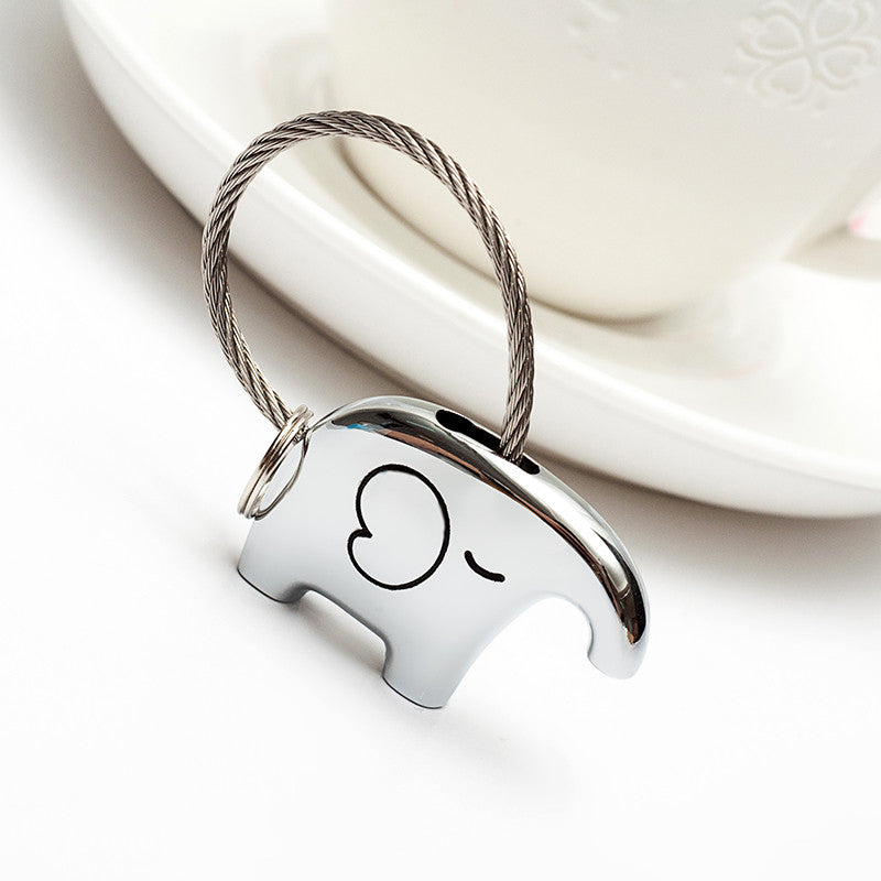 Save Elephant Love Keychain-Silver Color - Ashley Jewels - 3