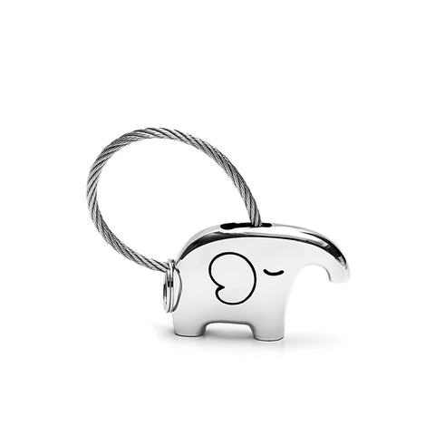 Save Elephant Love Keychain-Silver Color - Ashley Jewels - 1