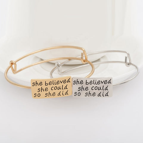 She Believed She Could So She Did Adjustable Bangle - Ashley Jewels - 1