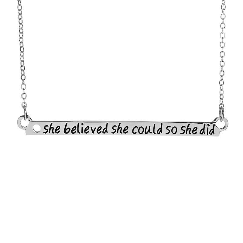 She Believed She Could So She Did Bar Necklace - Ashley Jewels - 2