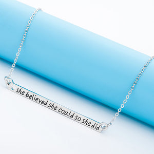 She Believed She Could So She Did Bar Necklace - Ashley Jewels - 1