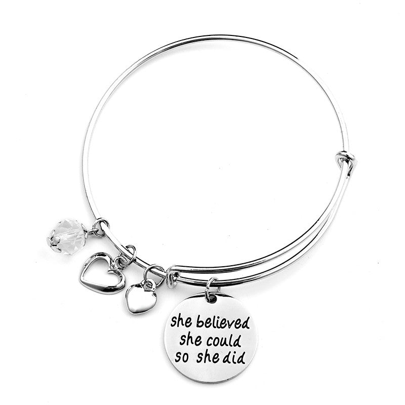 She Believed She Could So She Did Charms Bangle - Ashley Jewels - 2