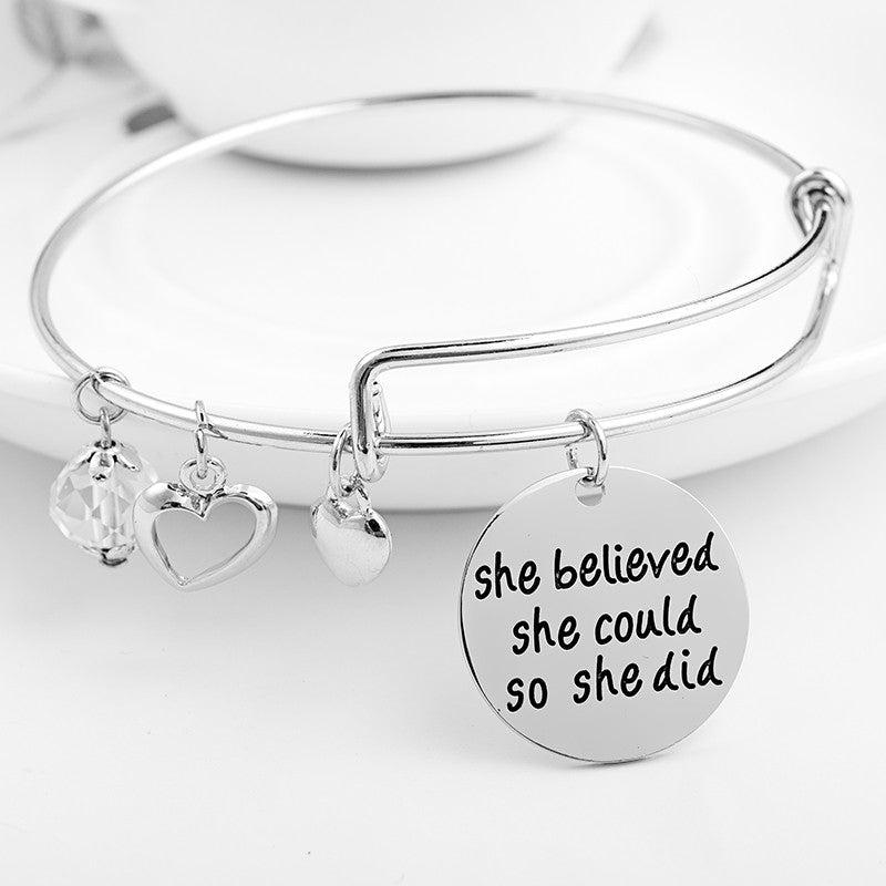 She Believed She Could So She Did Charms Bangle - Ashley Jewels - 1