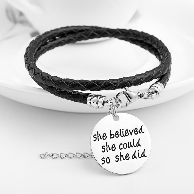 She Believed She Could So She Did Hand Stamped Bracelet - Ashley Jewels - 1