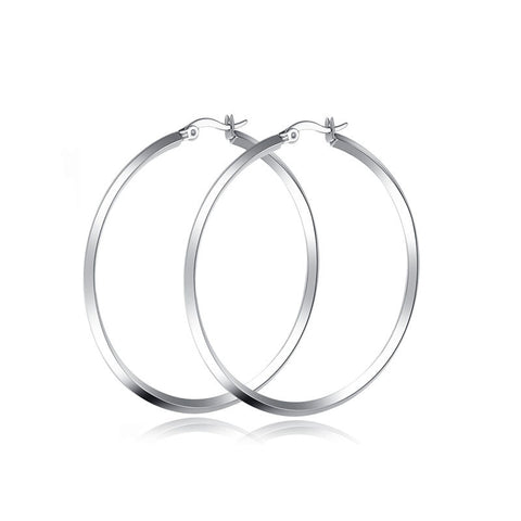 Sterling Silver Lock Hoops earring - Ashley Jewels - 1