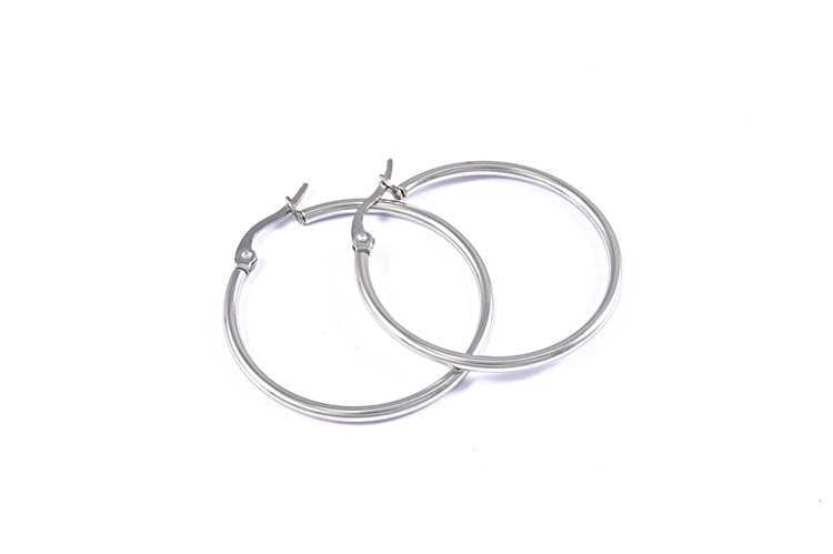 Sterling Silver Lock Hoops earring - Ashley Jewels - 2