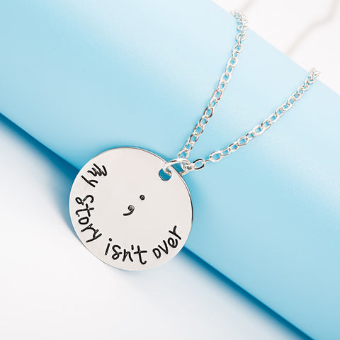 Semicolon Charm Pendant - Ashley Jewels - 1
