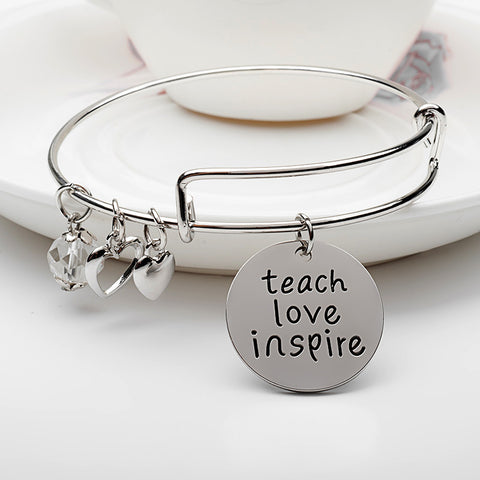 Teach Love Inspire Charms Bangle - Ashley Jewels