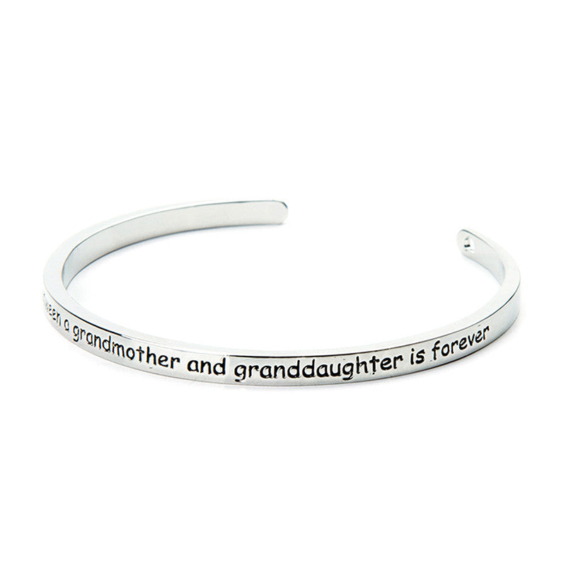 The Love Between A Grandmother and Granddaughter is Forever Cuff Bangle - Ashley Jewels - 2