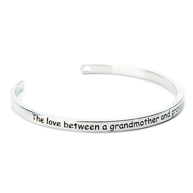 The Love Between A Grandmother and Granddaughter is Forever Cuff Bangle - Ashley Jewels - 3