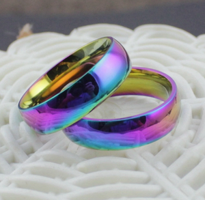 Rainbow Colorful Ring Titanium Steel Ring - Ashley Jewels - 2