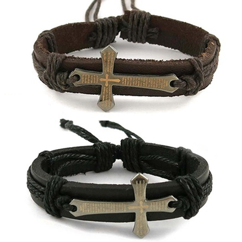 Prayer Cross Bracelets in Genuine Leather - Ashley Jewels - 1