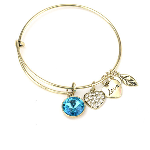 March Birthstone Charm Bangle - Ashley Jewels - 1
