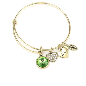 August Birthstone Charm Bangle - Ashley Jewels - 1
