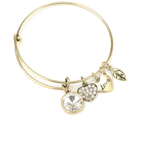 April Birthstone Charm Bangle - Ashley Jewels - 1