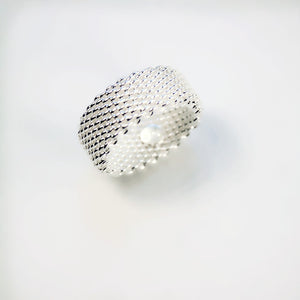 Sterling Silver Woven Mesh Ring - Ashley Jewels - 4