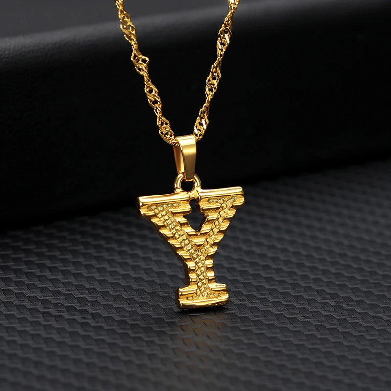 Initial Necklace Stainless Steel - Gold