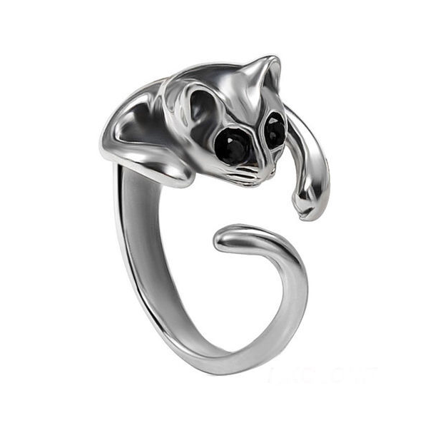 Silver Plated Cat Ring - Ashley Jewels - 2