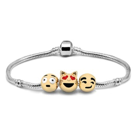 Cat Love Emoji Charm Bracelet - Ashley Jewels